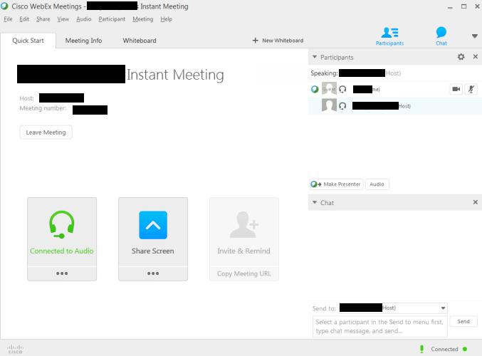 WebEx Start Screen