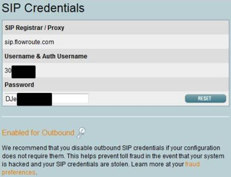 Flowroute SIP Credentials