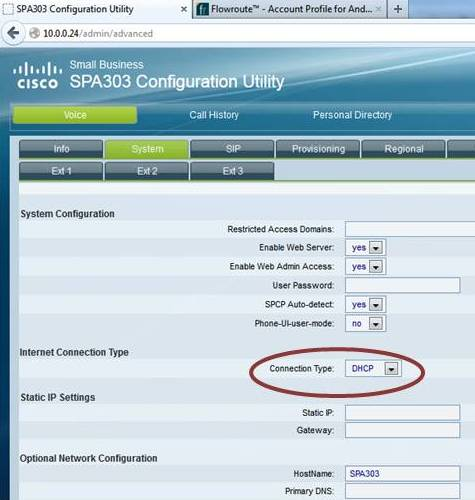 Flowroute Trunking Service - Provisioning a Cisco SPA 303